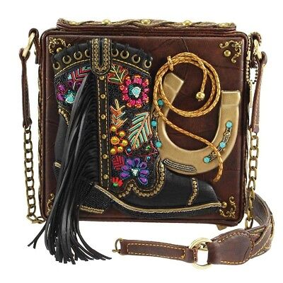Mary Frances Line Dance Embellished Cowboy Boot-Western Theme Crossbody Handbag