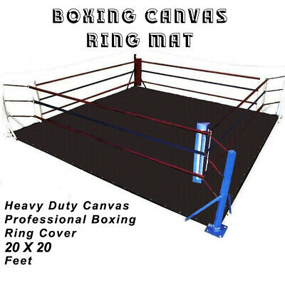 DEFY PROFESSIONAL BOXING RING MAT HEAVY DUTY CANVAS COVER MMA JUDO 20 FT -