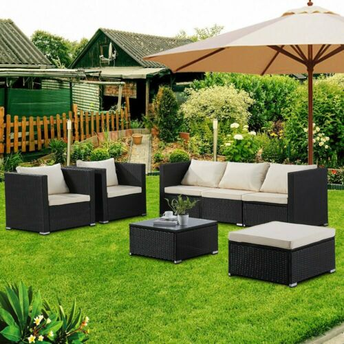 Garden Furniture - 6PCS Patio Sofa Set Outdoor Wicker Furniture Garden Rattan Sectional Black Set