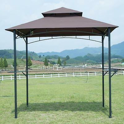 Brown 8'x 5'BBQ Grill Gazebo Barbecue Canopy BBQ Grill Tent w/ Air Vent F85 Garden Structures & Shade