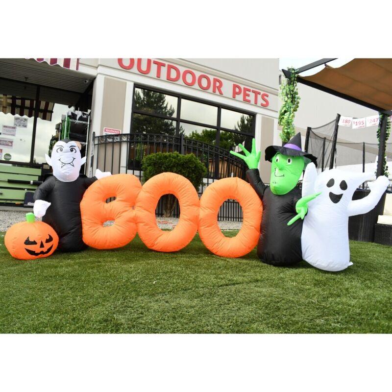 ALEKO Yard Outdoor Decoration Halloween Inflatable BOO Word with Ghosts 8.5 feet