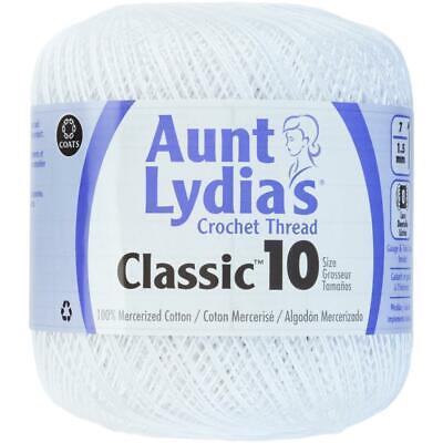 White Aunt Lydia's Classic Crochet Thread Cotton Size 10 - 400 Yards (10 Cotton Crochet Thread)