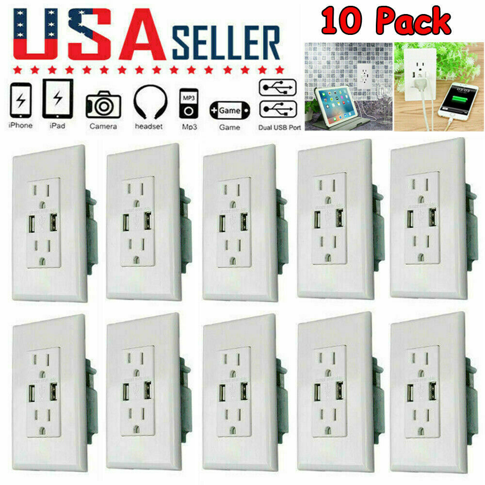 US Dual USB Wall Outlet Charger Port Socket with 15A Electri
