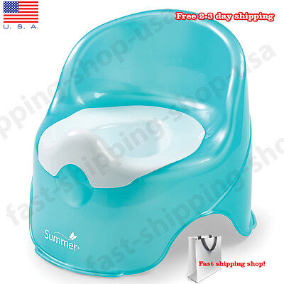 Baby Potty Training Seat Toilet Chair Infant Toddler Kids Bathroom White Teal
