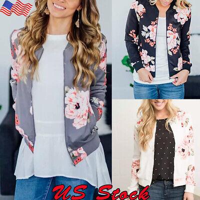 Womens Jacket Slim Retro Floral Bomber Zipper Casual Baseball Outwear Tops Coat