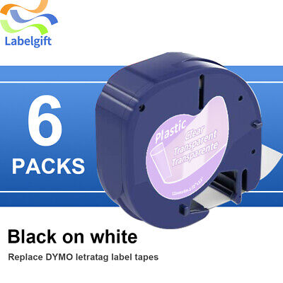 6pk Compatible For Dymo Letratag Tapes Lt 16952 12mm Label Maker Black On Clear