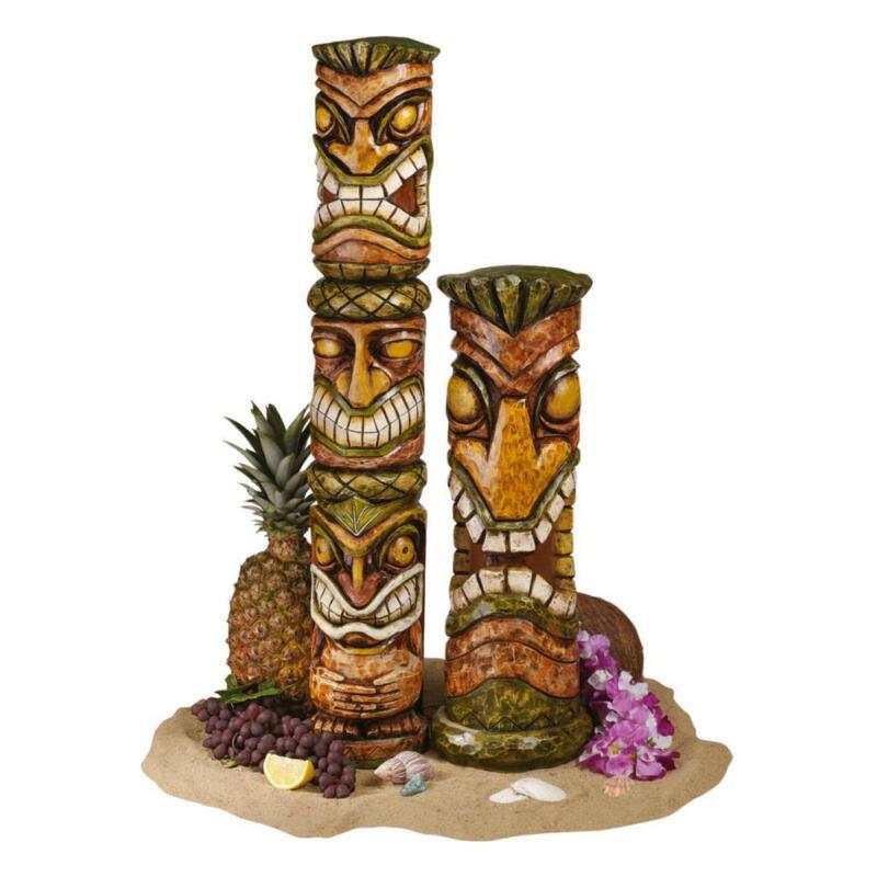 Set of 2 Primitive Tiki Totem Statue Pool Spa Exotic Tropical Island Luau Patio