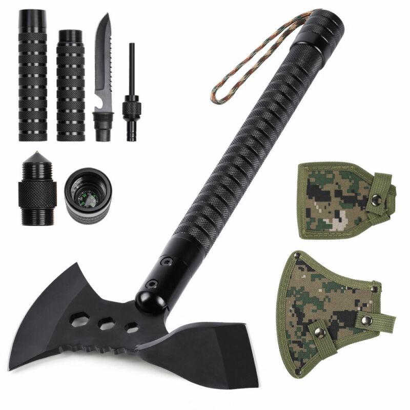 "Survival Hatchet Hiking Camping Axe & Adze Multi-tool 17.7"" Sheath Portable"