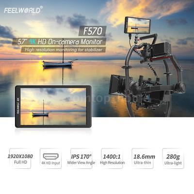 "Feelworld F570 5.7"" Ultra 4K IPS LCD HD Video Camera Monitor + Hot Shoe Mount"