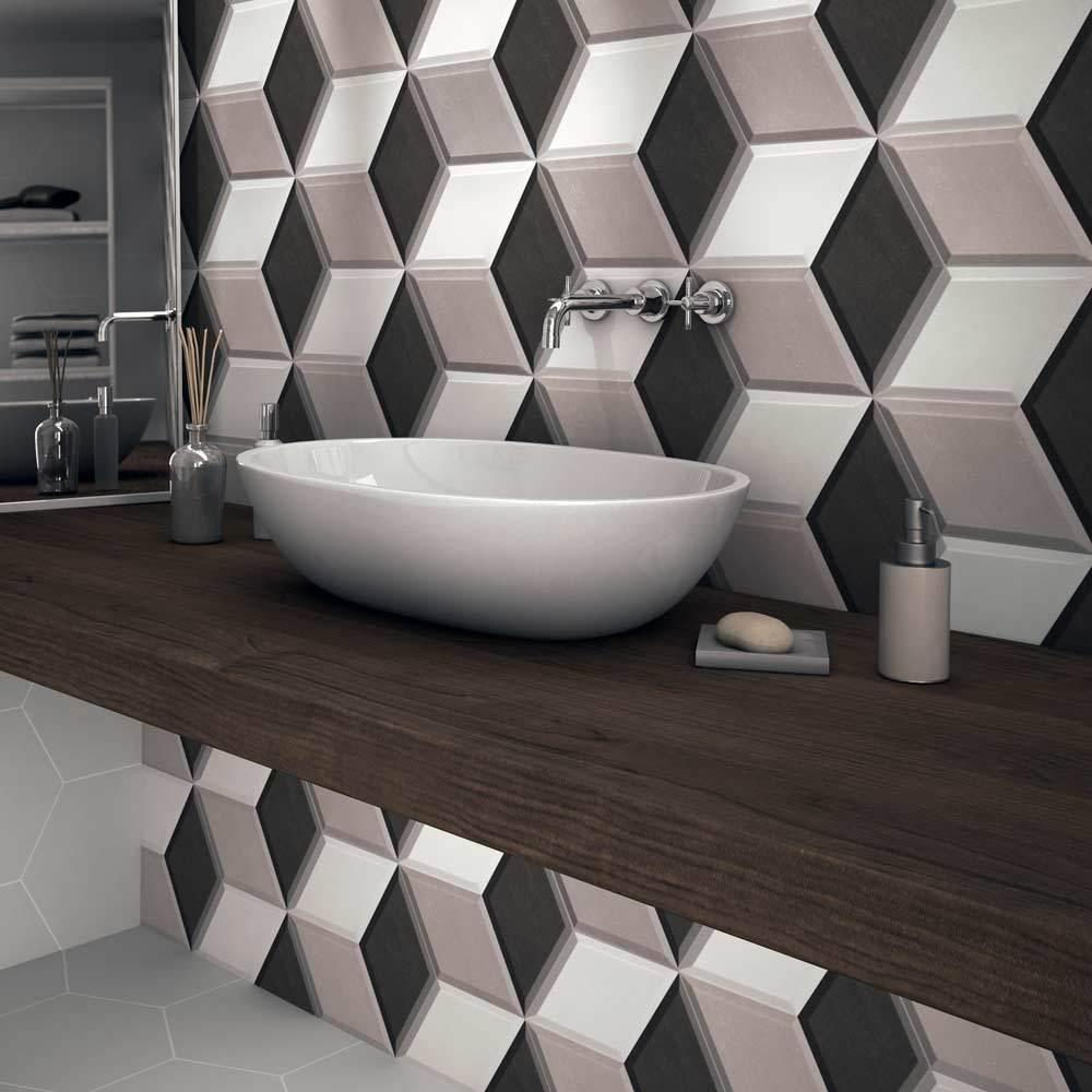 Ol Hexa Cube 3d Effect Grey Porcelain Matt Wall Tiles