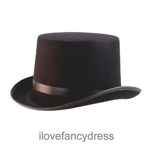 BLACK-FELT-TOP-HAT-MAGICIAN-FANCY-DRESS-DANCE-SHOW-VICTORIAN-COSTUME-ACCESSORY