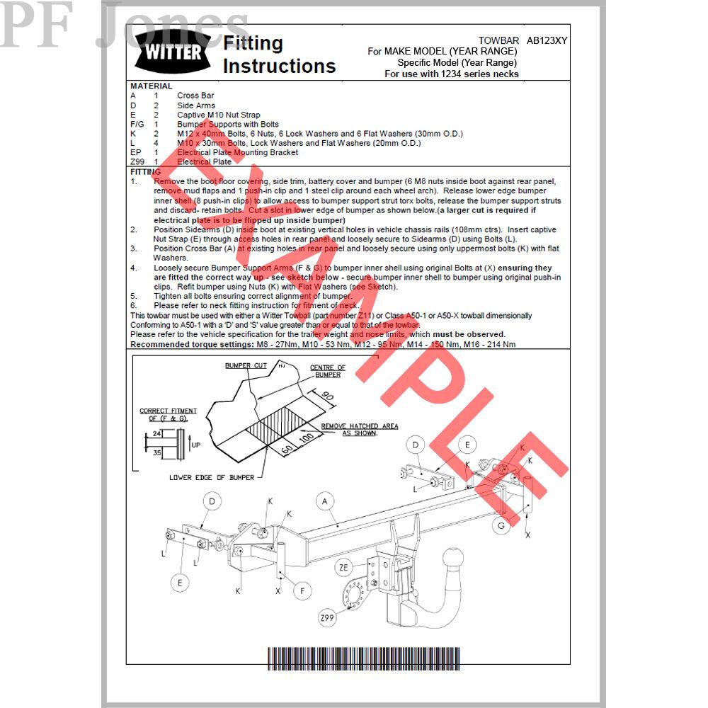 witter towbar for nissan x trail 2007 2014 flange tow bar ebay rh ebay co uk Dvd Wiring Diagram 6 Pin Wiring Diagram