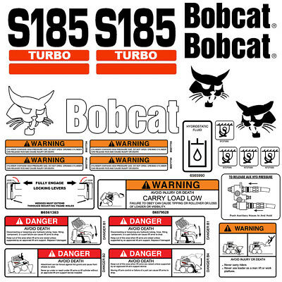 Bobcat S185 Turbo Skid Steer Set Vinyl Decal Sticker With Warning - 25 Pc Set