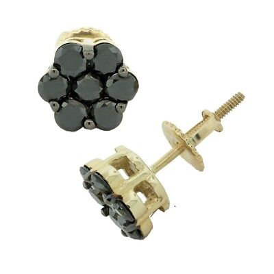 0.75ct Genuine Treated Black Diamond Cluster Flower Earrings Solid 10k - Black Diamond Cluster Earrings