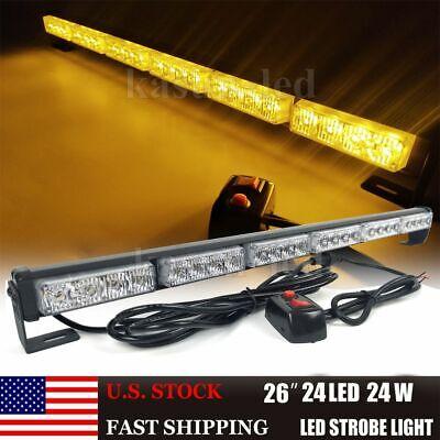 26 Inch Amber Led Emergency Strobe Light Bar Warning Traffic Advisor Flashing