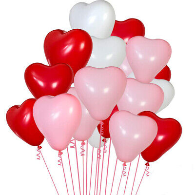 Red White Balloons (20x 12'' Latex Red, White Heart Shape Air/Helium Love Balloons Valentines Day)