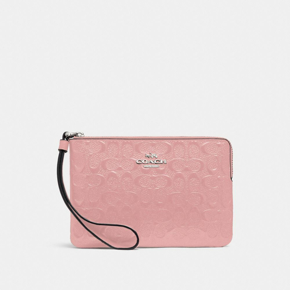 New Coach F58032 F58035 Corner Zip Wristlet With Gift Box New With Tags Petal Patent Leather