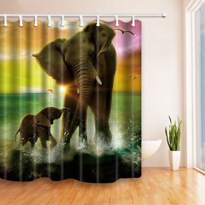 Elephant mother and child Shower Curtain Bathroom Decor Fabric & 12hooks 71*71in ()