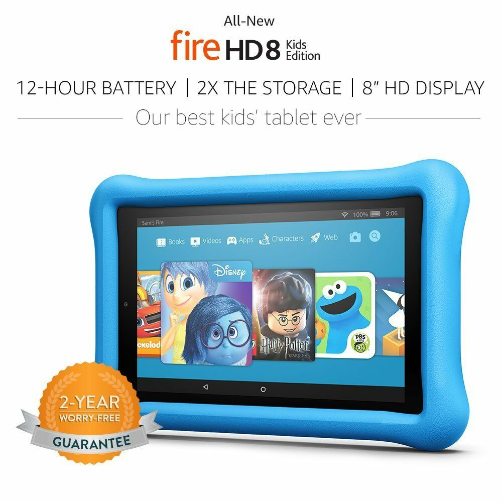 """Amazon Kindle Fire 8 Blue Kids Proof Children Edition 8"""" HD Tablet 32 GB - 2017"""