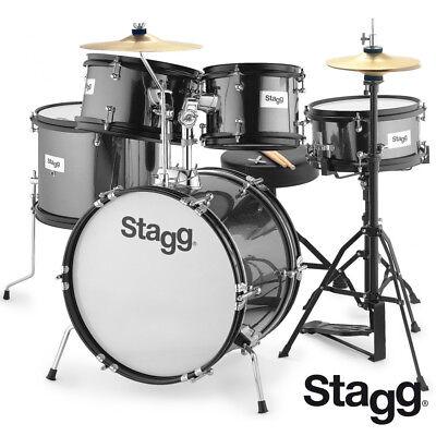 Stagg TIM516-JR 5 Piece Complete Junior Drum Set - BLACK + Sticks, Cymbals, Seat