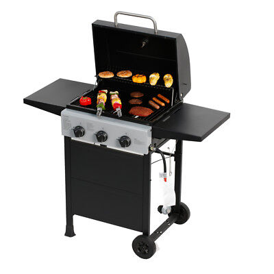 - 3 Burners Gas Grill  Barbecue Outdoor Propane Grill W/ Side Table