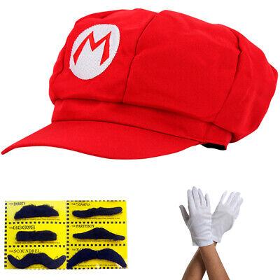 Super Mario Mütze Rot Komplett Set Erwachsene Hut - Super Mario Hut Kostüme