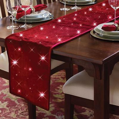 Cordless Twinkling Table Runner Burgundy Dark Red 72x14