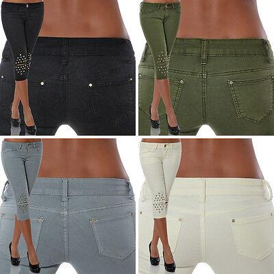 Kurze Skinny Jeans (Damen Capri Jeans Kurze Hose Stretch Hüftjeans Hüfthose Bermuda 3/4 Shorts Denim)