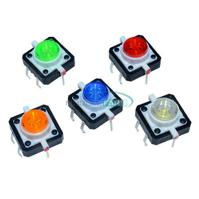 5pcs 12x12x7.3 Tactile Push Button Switch Momentary Tact Led 5 Color Mf