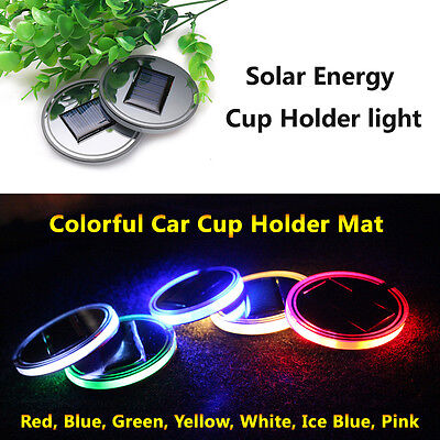 Pack Of 2 Solar Energy Led Car Cup Holder Lights Lamps Parts Light Accessories