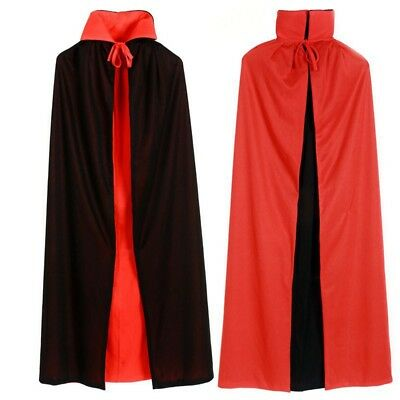 Halloween Black Red Vampire Cape Dracula Devil Cloak Kids Fancy Dress Costume  - Red Vampire Cape