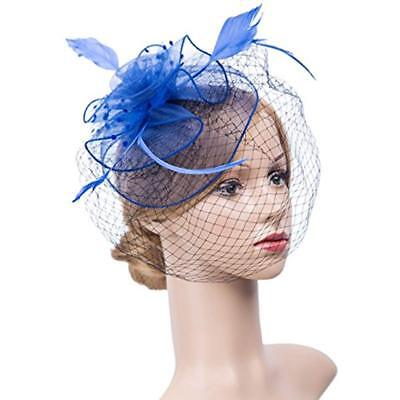 K.CLASSIC Fascinators Hats For Womens 50s Headwear With Veil Flower Cocktail Tea