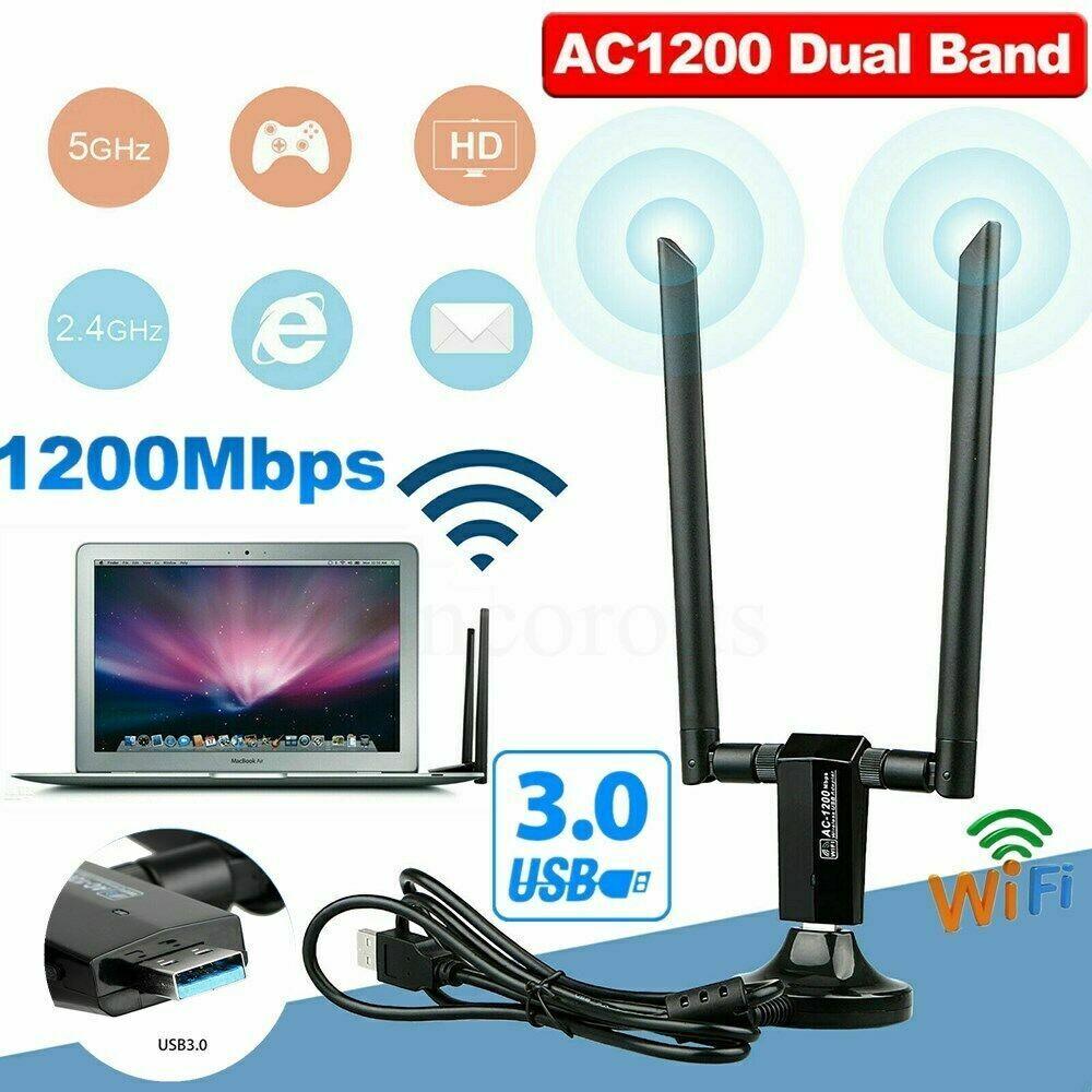1200Mbps Long Range AC1200 Dual Band 5GHz Wireless USB 3.0 W