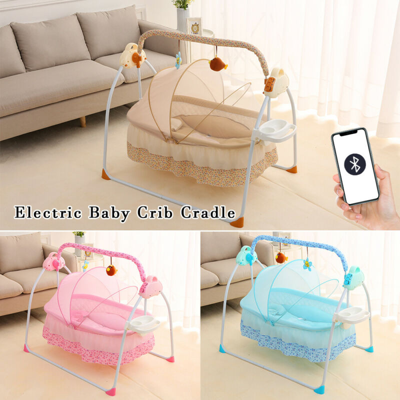 Electric Rocker Baby Swing Infant Cradle Bouncer Seat Chair Cradle Bed Bluetooth