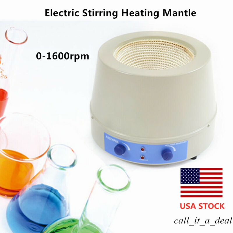 2000ml Lab Electric Stirring Heating Mantle with Magnetic Stirrer 0-1600rpm USA
