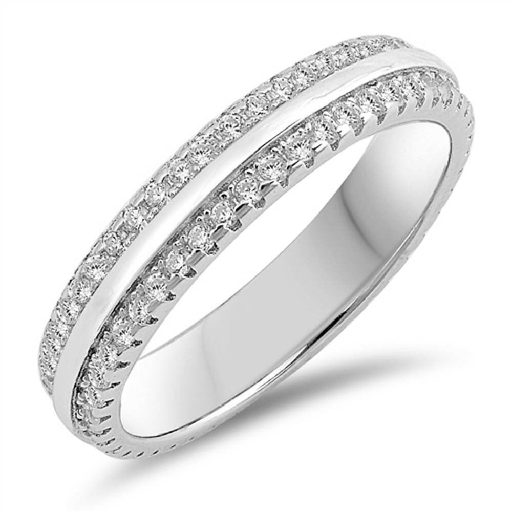 Eternity Wedding Anniversary Band .925 Sterling Silver Ring