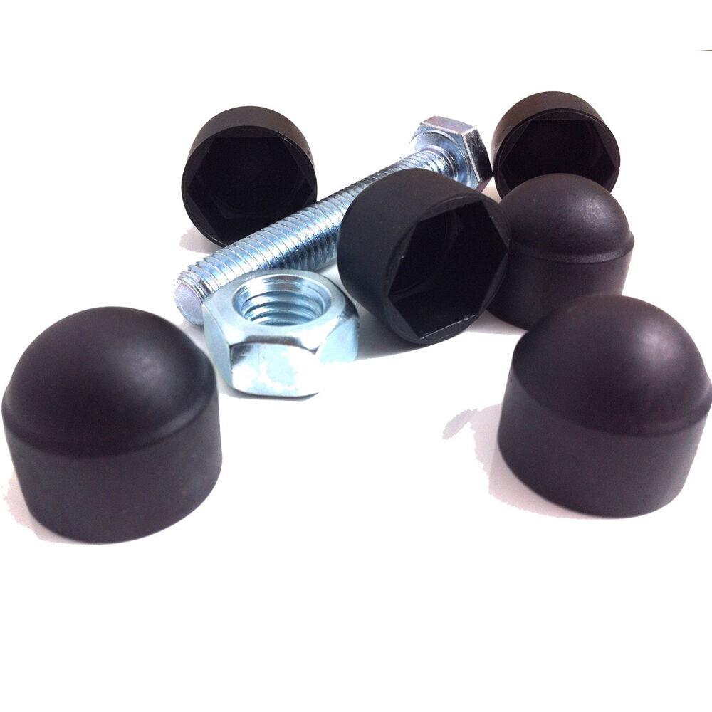 8mm BLACK NUT /& BOLT PLASTIC//NYLON COVER CAP M8 13mm SPANNER SIZE 12 PACK