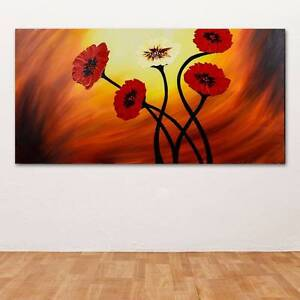 Corn Poppy Hand Painted Wall Art - Wooden Framed Canvas Sydney City Inner Sydney Preview