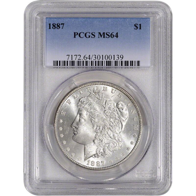 1887 US Morgan Silver Dollar $1 - PCGS MS64