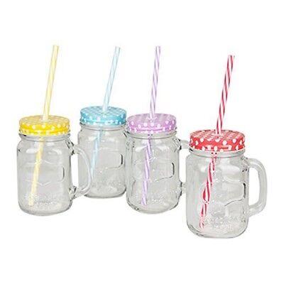 Plastic Drinking Jar (Mason Glass Jam Jar Drinking Mug With Plastic Straw & Lid - Clear)