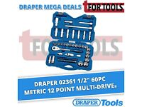 "DRAPER 02361 1/2"" 60pc SOCKET SET METRIC 12 POINT MULTI-DRIVE Tool kit"