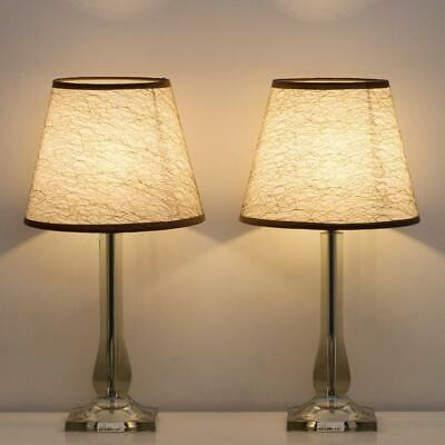 Set of 2 Modern Bedside Table Lamps Bedside Desk Lamps with Acrylic -