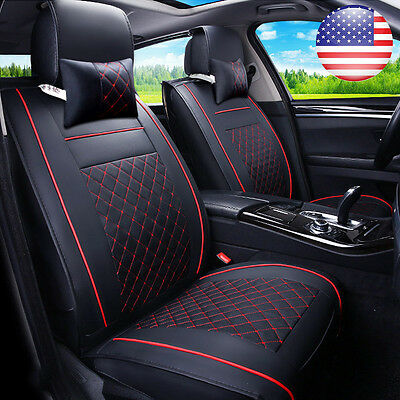 US STOCK 2x Car SUV PU Leather Front Seat Covers w/ Free 2pc Neck Pillows Set