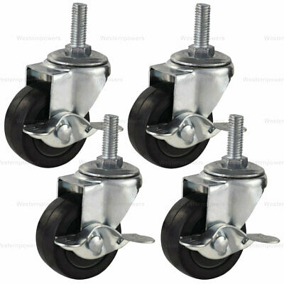 4x 3 Inch Rubber Casters Heavy Duty Safety Brake Wheels For Wire Shelving Rack