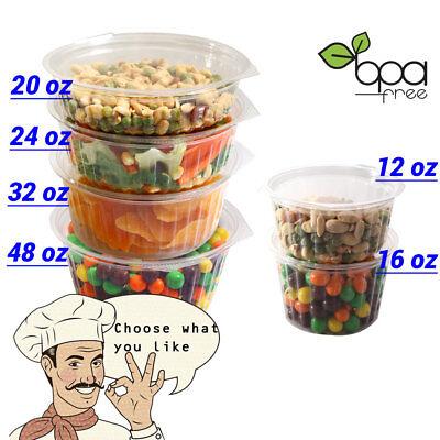 12oz 16oz 20oz 24oz 32oz 48oz Clear Round Deli Food/Soup Container Cups w/ Lid D