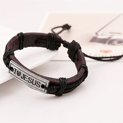 - Wrap Christian Leather Cuff Bangle Wristband Religious Bracelet