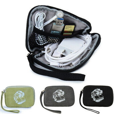 Electronic Accessories Storage Sleeve Carry Case Travel USB Cable Organizer Bag