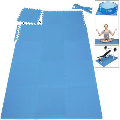 Alfombra puzzle de Fitness de 16 piezas protección para suelo 180x180x1cm Azul
