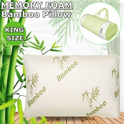 Comfort King Size Bamboo Memory Foam Bed Pillow Cooling Hypoallergenic -