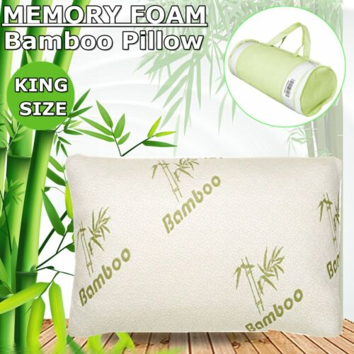 Comfort King Size Bamboo Memory Foam Bed Pillow Cooling Hypo